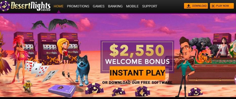 Бездепозитный бонус $13 Desert Nights Rival Casino