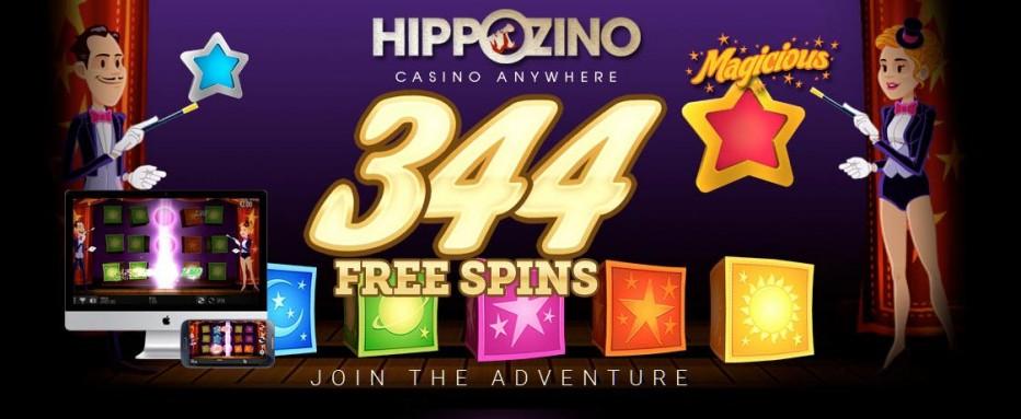 44 бесплатных вращений Hippozino Casino