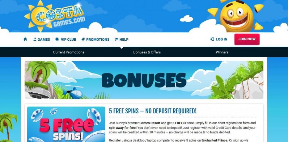 5 бесплатных вращений Costa Games Casino