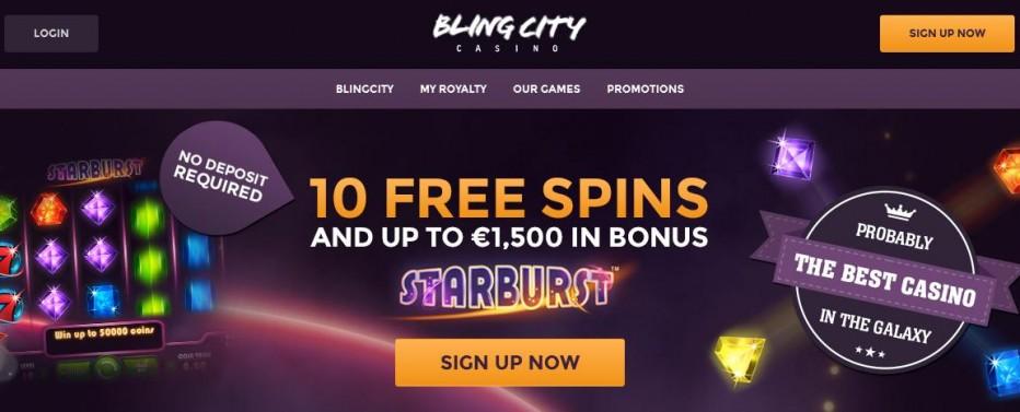 10 бесплатных вращений BlingCity Casino