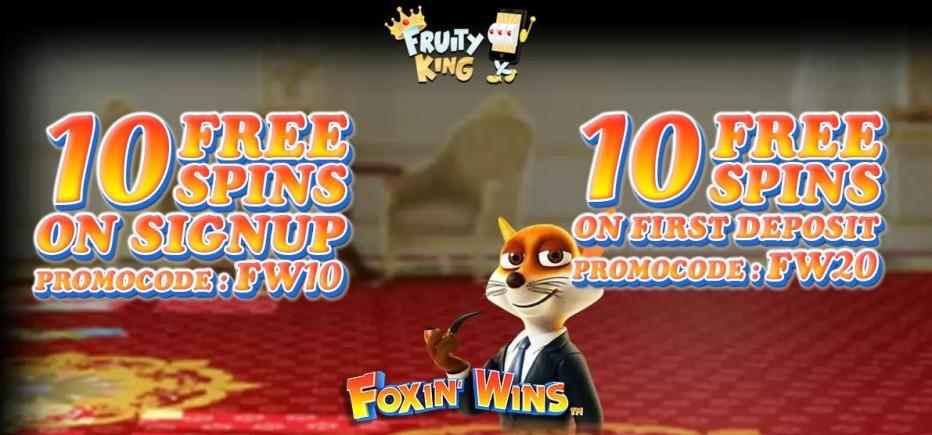 10 бесплатных вращений Fruity King Casino