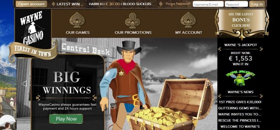 50 бесплатных вращений Wayne Casino