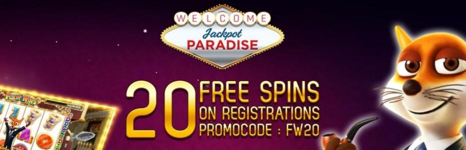 20 бесплатных вращений Jackpot Paradise Casino