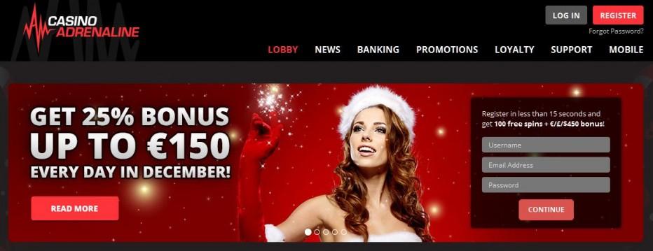 10 бесплатных вращений Adrenaline Casino