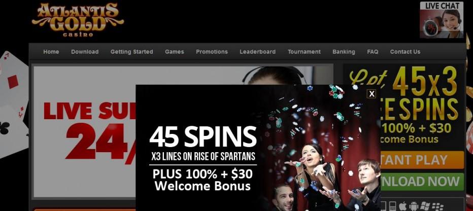 45 бесплатных вращений Atlantis Gold Casino