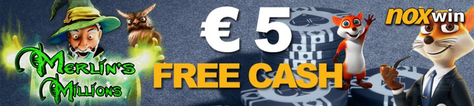 Бездепозитный бонус €5 Noxwin Casino