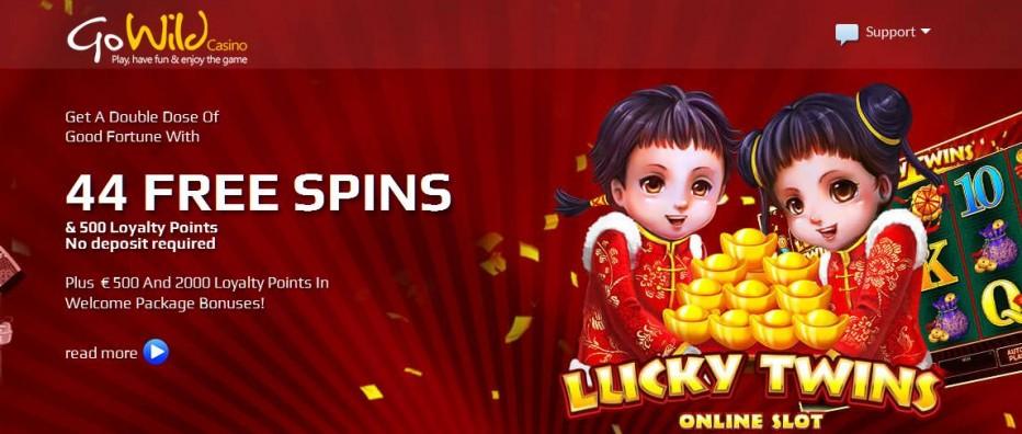 44 бесплатных вращений GoWild Casino