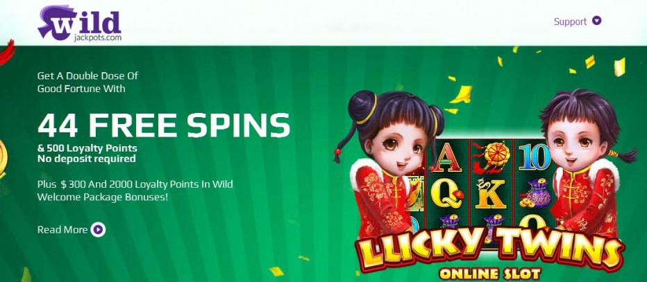 44 бесплатных вращений WildJackpots Casino