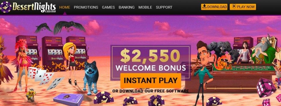 Бездепозитный бонус €50 Desert Nights Rival Casino