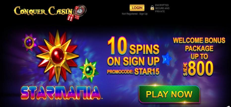 10 бесплатных вращений Conquer Casino