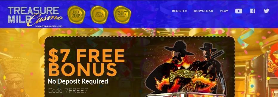 Бездепозитный бонус $7 Treasure Mile Casino