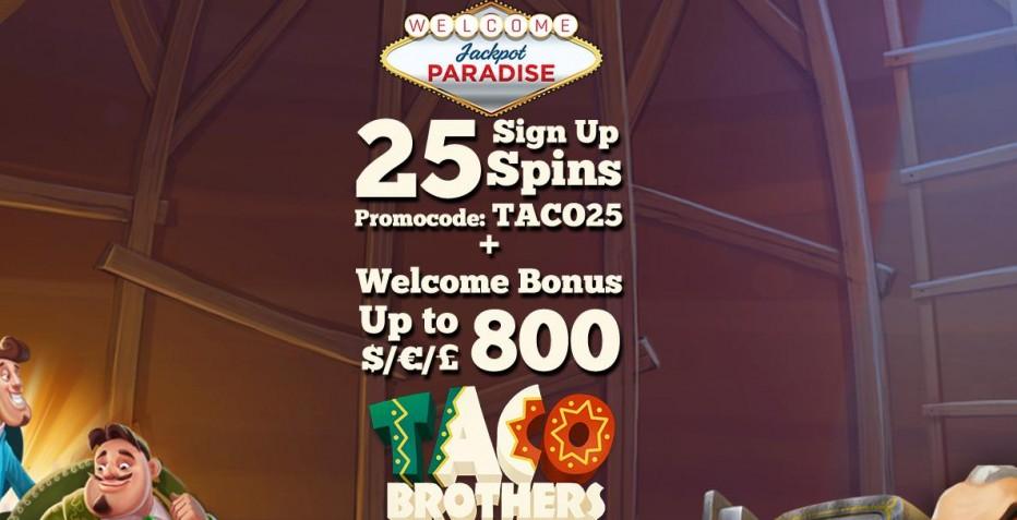 25 бесплатных вращений Jackpot Paradise Casino