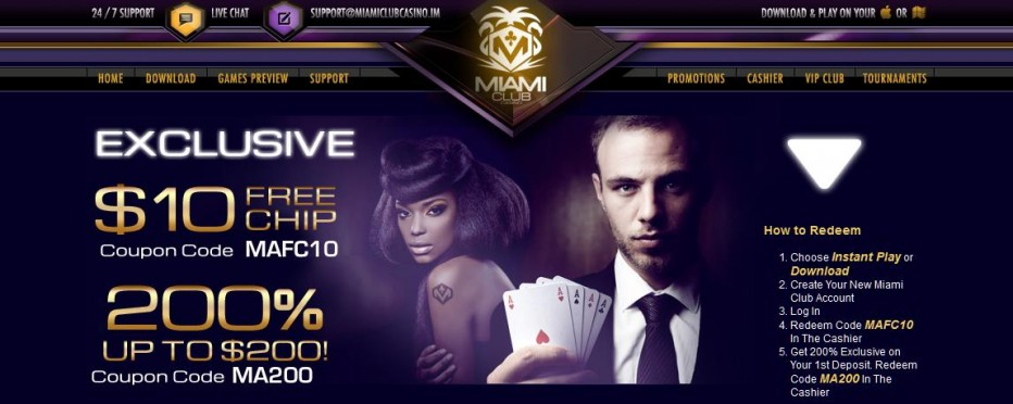 Бездепозитный бонус $5 Miami Club Casino