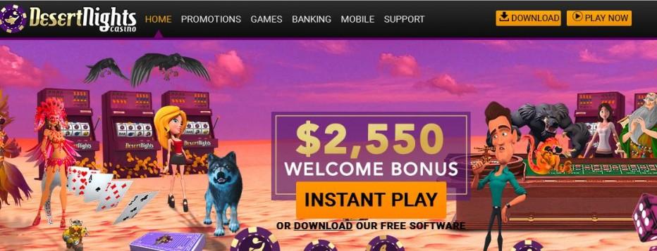 Бездепозитный бонус $50 Desert Nights Rival Casino