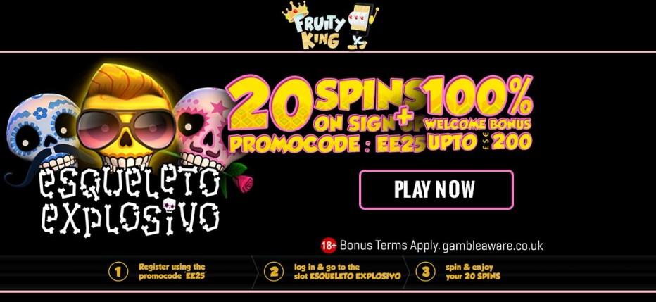 20 бесплатных вращений Fruity King Casino