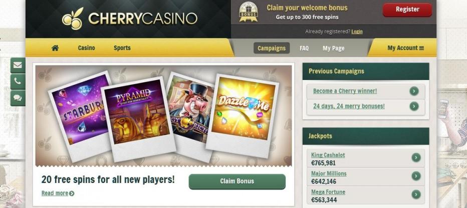 20 бесплатных вращений Cherry Casino