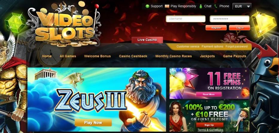 11 бесплатных вращений Video Slots Casino