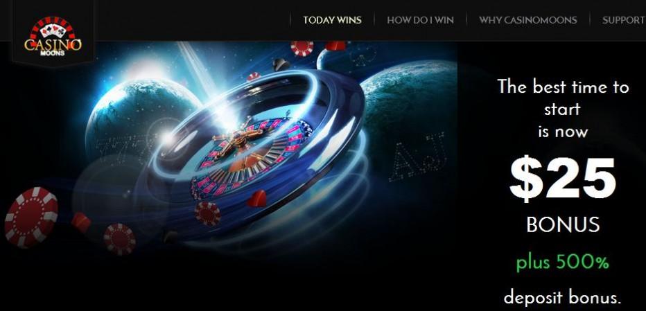 Бездепозитный бонус $25 Moons Casino