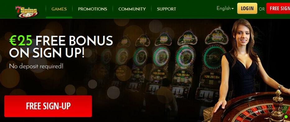 Бездепозитный бонус $25 7Spins Casino