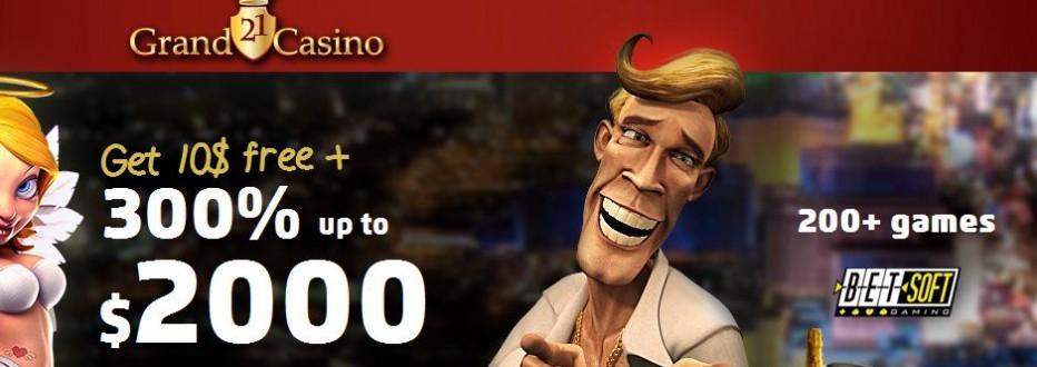 Бездепозитный бонус €10 21Grand Casino