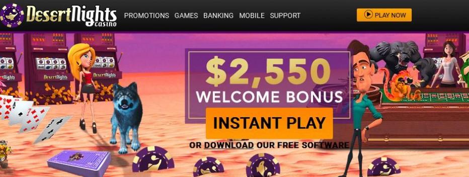 Бездепозитный бонус $10 Desert Nights Rival Casino